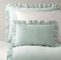 Washed Velvet & European Vintage-Washed Percale Bedding Collection