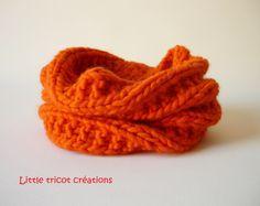 Snood / Tour de cou pour fille. Orange vif. 4/6 ans. Fait-main 100% made in…