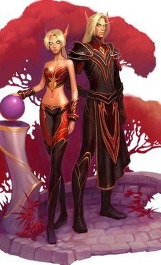 Super Ideas for fantasy art couples elves lights World Of Warcraft, Art Warcraft, Gothic Fantasy Art, Fantasy Artwork, Dark Fantasy, Fantasy Races, Fantasy Warrior, Larp, Akali League Of Legends