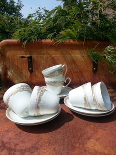 Mid Century Textured cup and saucers from by fcollectables on Etsy, €65.00