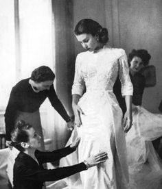 Sorelle Fontana. 1949, Linda Christian tries on her wedding gown,  for her marriage with Tyrone Power.