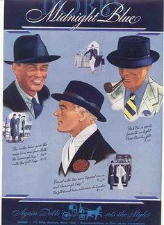 "1936 Dobbs Mens Hats ""Midnight Blue"" vintage menswear ad, when all the dapper gentlemen kept their heads covered!"