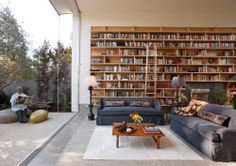 A wall of books juxtaposed against a clear glass wall that shows the backyard view. Love it!