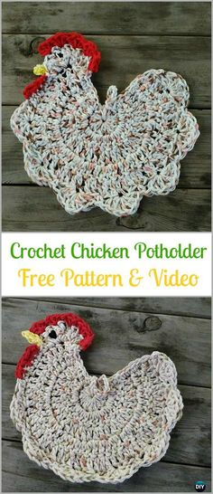 Crochet Chicken Potholder Free Pattern&Video - Easter #Crochet; Chicken Potholder Free Patterns