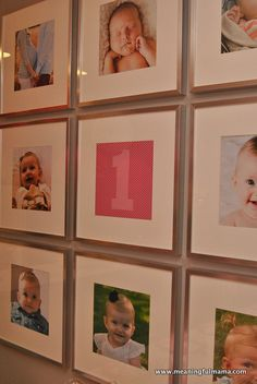 First Birthday Party Idea - Photo Wall Showing Images from the First Year of Life - Meaningful Mama