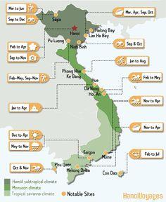 Curious as to when is the best time to visit a certain area in Vietnam? Worry not as we have compiled the best period for travelling in particular destinations in Vietnam. Backpacking India, Backpacking South America, Vietnam Travel Guide, Asia Travel, Hanoi, Ho Chi Minh, Vietnam Voyage, Visit Vietnam, Les Continents