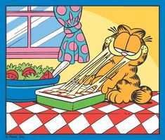Garfield loves his lasagna. Garfield Quotes, Garfield Cartoon, Garfield And Odie, Garfield Comics, Cartoon Tv, Cartoon Shows, Cartoon Drawings, Garfield Lasagna, Garfield Birthday