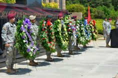 Wreaths representing each of the commands in the U.S. Army Special Operations Command were placed in front of the USASOC Fallen Soldier Memorial to honor fallen Soldiers during a memorial ceremony, May 22.