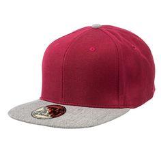 GROOVE | wool/acrylic two-tone snapback cap. Classic flat peak with a high crown.  plain colours || burgundy+grey marle, grey marle+black. Plain hats & caps | bulk snap back