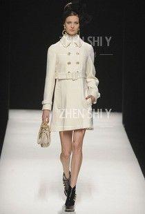 Proverbs poem elegant clothing tailored elegant fashion white double-breasted cashmere wool coat jacket raglan sleeves  $929