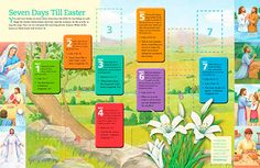 """The Church of Jesus Christ of Latter-day Saints Friend magazines countdown """"Seven Days Till Easter"""" activity or FHE"""