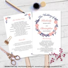 Shop for on Etsy, the place to express your creativity through the buying and selling of handmade and vintage goods. Diy Wedding Programs, Wedding Program Fans, Wedding Fans, Page Program, Microsoft Word 2010, Mint Coral, Program Template, Wedding Prep, Text Color