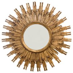 French Gold Leafed Hand Carved Sunburst Mirror