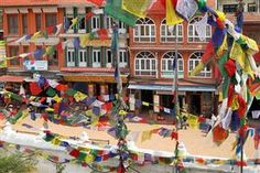 PHOTO: Prayer flags cascading from Boudhanath Temple in Kathmandu, Nepal