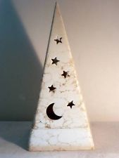 PartyLite Galaxy Tealight Holder - Ceramic Candle Holder Moon & Stars