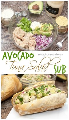 Kick up your Tuna Salad with some fresh avocado then use Homemade Mayo and slap it on a Homemade Baguette for a From Scratch Avocado Tuna Salad Sub! dinner tuna Avocado Tuna Salad Sub Avocado Tuna Salad, Avocado Salat, Fresh Avocado, Spinach Salad, Avocado Tuna Sandwich, Healthy Tuna Salad, Salmon Salad, Fruit Salad, Seafood Recipes