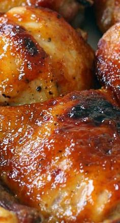 Two Ingredient Crispy Oven Baked BBQ Chicken ~ The crispiest, most perfectly glazed, sweet, sticky, and tender barbecue baked chicken you will ever have.- best BBQ chicken I've used! Oven Baked Bbq Chicken, Baked Chicken Recipes, Meat Recipes, Dinner Recipes, Cooking Recipes, Healthy Recipes, Chicken Thighs In Oven, Breaded Chicken, Balsamic Chicken