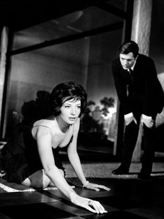 """Monica Vitti & Marcello Mastroianni in La notte (dir. Michelangelo Antonioni, 1961) - """"Io non sono intelligente, sono sveglia."""""""