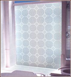 Add decorative privacy with this faux Glass Block window film. An octagonal glass block design with a lightly frosted inset creates a geometric pattern that will enhance even the largest windows or glass partitions.