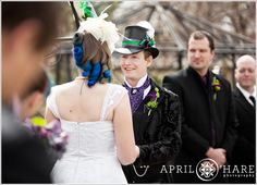 A wedding ceremony that took place in the springtime at a Northern Colorado Wedding venue called the McCreery House in Loveland Colorado. - April O'Hare Photography #Colorado #ColoradoWedding #ColoradoWeddingPhoto #LovelandWedding #Loveland #LovelandWeddingPhoto #Steampunk #SteampunkWedding #Springwedding #McCreeryHouse