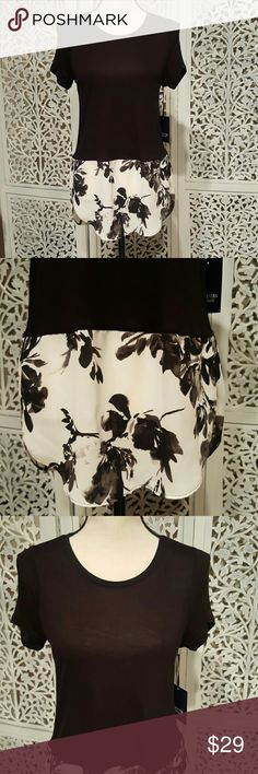 Black and White Detailed Blouse Simply Vera Vera Wang black short sleeved top with a gorgeous connected mock undershirt that is white with a very modern flower print. Pair this with leggings, boots, and a cardi for a stunning look! Simply Vera Vera Wang Tops