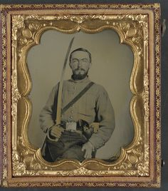 (c. 1861-1865) Lieutenant William Bowen Gallaher of Co. E, 1st Virginia Cavalry Regiment in uniform and Virginia state seal belt plate.