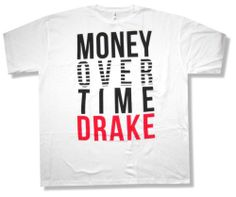 "DRAKE ""MONEY OVER TIME"" WHITE T-SHIRT NEW OFFICIAL RAPPER ADULT"