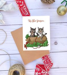 Items similar to Tabby Cat Christmas Cards, Meowy Christmas, Veterinarian Gift Blank Christmas Cards Cute Christmas Card Cat Lover Gift Funny Christmas Cards on Etsy Christmas Gifts For Pet Lovers, Cat Christmas Cards, Christmas Items, Cat Lover Gifts, Gifts For Veterinarians, Pet Loss Gifts, Cats Playing, Paper Crafts, Tabby Cats