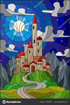 Иллюстрация в витраж стиль пейзаж с Старый замок на фоне Луны, звездное небо и горы — стоковая иллюстрация #148498009