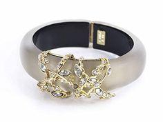#sale Alexis Bittar Crystal Lace Hinge Bracelet Warm Grey Cuff Jewelry