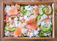 Smoked Salmon and Cucumber Chirashizushi from Just Hungry