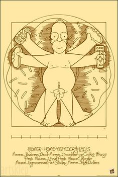 Da Vinci's Vitruvian Man - Homer Simpson, The Simpsons Print Simpsons Tattoo, The Simpsons, Simpson Art, Homer Simpson Beer, Da Vinci Vitruvian Man, Futurama, Oeuvre D'art, Illustration, Comic Art