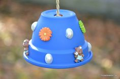 Meisenknödelhalter blau bunt mit Teddy von Mosaikkasten  Dekoration für Haus und Garten auf DaWanda.com
