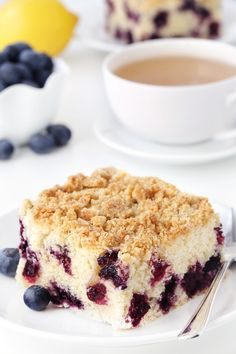 Blueberry coffee cake with streusel topping tastes just like a delicious…
