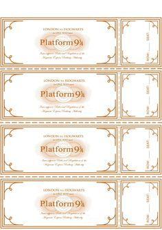 Ticket del Expresso de Howarts para imprimir Más