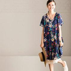 Lovely Sweet Blue Flower Printing Dress Women Tops Q7191B