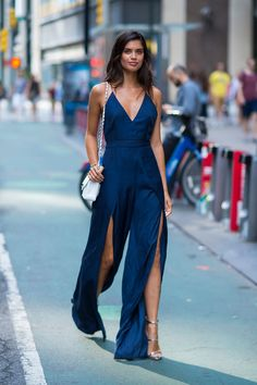 Sara Sampaio in The Jet Set romper with a Chanel bag. I'm currently loving rompers and interesting pant legs, so 2 points for her.