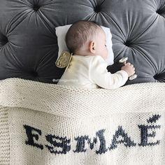 Cream blanket & dark gray name Big Beds, Dark Grey Color, Cozy Blankets, Baby Names, Bassinet, Baby Knitting, Comfy, Instagram, Victoria