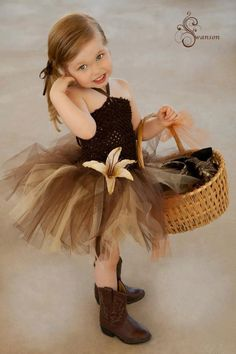 Chocolate Brown tutu dress for flower girl. I want a different flower though