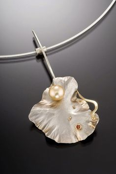 Hand fabricated and forged sterling silver and18k gold necklace with touch of freshwater pearl and citrine by Julie Jerman-Melka. Beautiful and very nat... - Pearlera - Google+