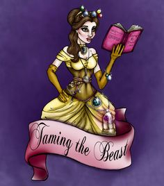 Steampunk Belle from Beauty and the Beast A4 Art Print by Hungry Designs