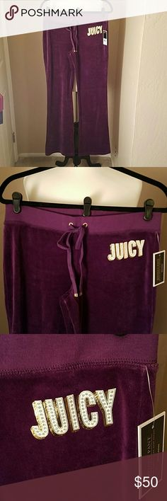 """NEW💜JUICY COUTURE BOOTCUT PANTS JUICY COUTURE(Black Label)~ velour graphic bootcut pants in rich aubergine with the 'JUICY' in the perfect amount of bling in creamy white, gold and silver on the left hip❣  There is gorgeous goldtone hardware that makes these pants POP🎉 with 'JC' inscribed on the drawstrings and 'JUICY COUTURE' on the back pockets!💫  78% cotton 22% polyester...approx. 33"""" inseam.  *Comes in the original retail packaging. **Remember the 'I WOKE UP LIKE THIS' sweatshirt??…"""