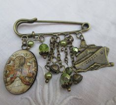Kilt pin brooch - octopus, ship, retro, bronze