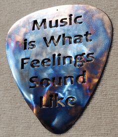 Mountain Metal Arts Music is What Feelings Sound Like Guitar Pick Metal Art - Guitar Pick Art, Cool Guitar Picks, Guitar Room, Music Guitar, Art Music, Sounds Like, Music Stuff, Music Things, Music Quotes