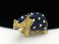 This is so CUTE!! Vintage CINER Figural Elephant Brooch Pin Enamel Rhinestone Hearts