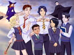 Batfamily goes to Hogwarts by ~jbramx2 on deviantART Dick (Hufflepuff), Jason (Gryffindor), Tim (Ravenclaw), Damian (Slytherin), Steph (Gryffindor), and Cassie (Hufflepuff).... Can we please address the fact that Bruce Wayne is wearing Snape's cape??? Just saying.