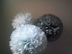 Tissue paper poms, Wedding decorations, Baby shower, Wedding anniversary, Bridal party, Party decorations, Set of 30 ‪#‎craftshout0501‬