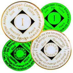 Narcotics Anonymous Medallion 1-40 Years NA Chip White and Red NA Coins Recovery