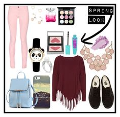 """""""Spring Look"""" by caity3726 ❤ liked on Polyvore featuring Maison Kitsuné, Boris, Vans, Casetify, Lipsy, Jimmy Choo, Burberry and MAC Cosmetics"""