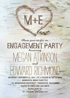 Carved heart engagement invitation - Birch tree. Lovely white birch bark, carved heart rustic engagement invitation. Perfect for outdoor engagement parties! More at http://superdazzle.com